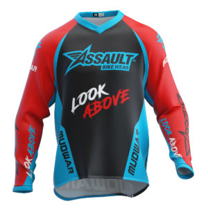 assault-mudwar-flag-rojo-azul-enduro-dh-mx-wear-front